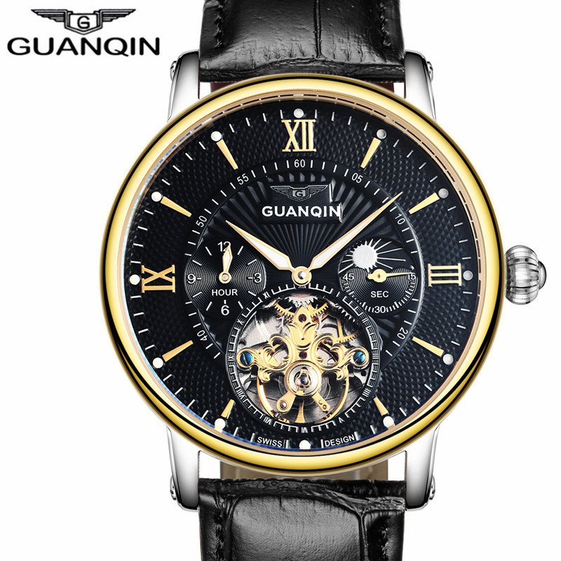 Mens Watches Top Brand Luxury GUANQIN Men Sport Tourbillon Automatic Mechanical Leather Wristwatch Moon Phase relogio masculino 2017 men watches luxury top brand sekaro sport mechanical watch gold clock men tourbillon automatic wristwatch with moon phase