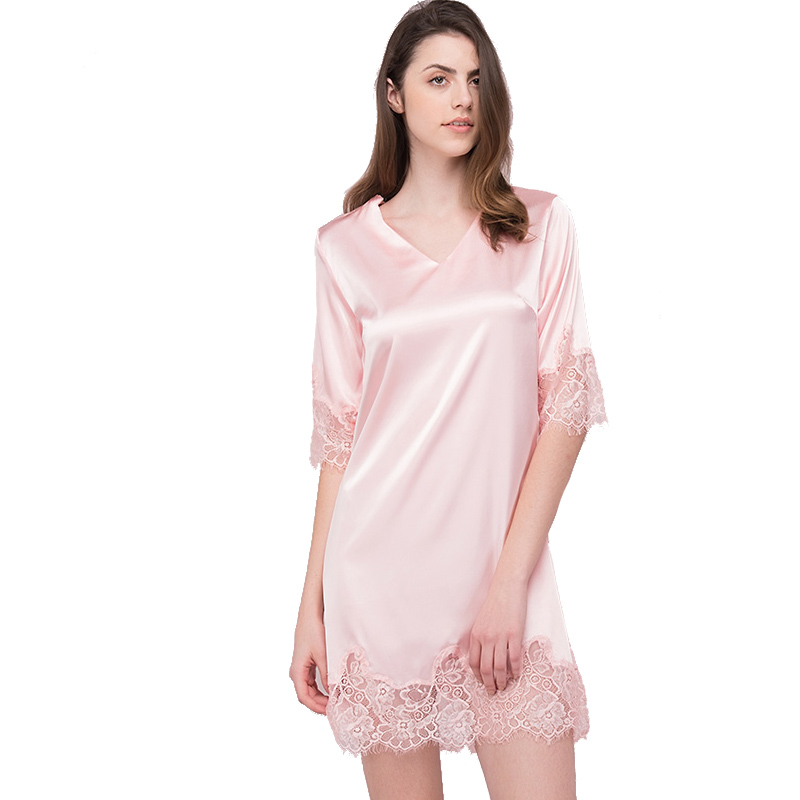 Sweetly Pink Summer Lace Border Night Dress Sexy Women N Neck   Nightgown   Short   Sleepshirts   Camisa de dormir