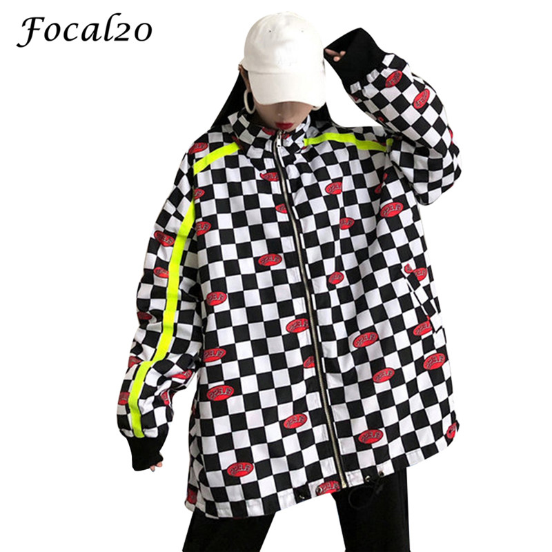 Focal20 Streetwear Letter Print Plaid Jacket Coat Women Spring Autumn Zipper Long Sleeve Checerboard Jacket Feminino Coats