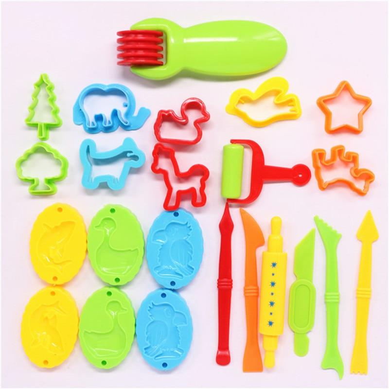 23 pçs plástico jogo ferramentas de massa conjunto brinquedo educacional plasticina molde modelagem argila kit slime brinquedos para crianças