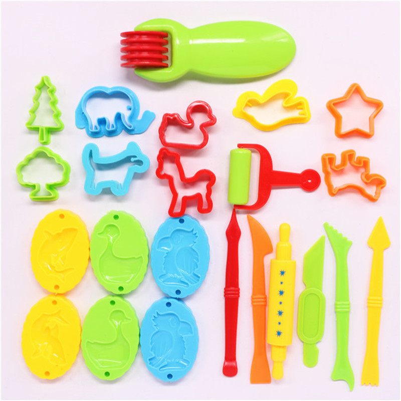 23pcs Plastic Play Dough Tools Set Toy Educational Plasticine Mold Modeling Clay Kit Slime Toys For Children