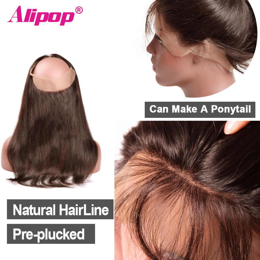 360 кружева лобовое закрытие предварительно выщипанные с детскими волосами #2/#4 светильник коричневого цвета бразильские прямые волосы ALIPOP человеческие волосы NonRemy