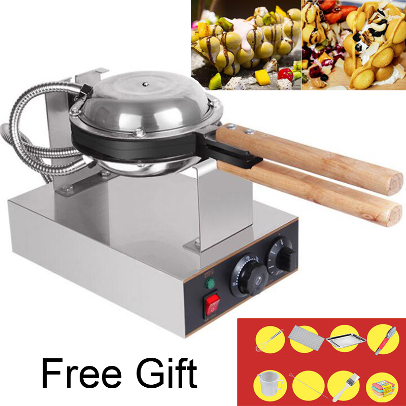 Gift Free 220V/110V bubble waffle Commercial electric Chinese Hong Kong eggettes puff egg waffle iron maker machine cake oven free shipping digital type hong kong egg waffle maker bubble waffle machine
