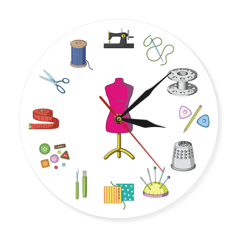 Tailor Shop Quilting and Sew Time Seamstress Modern Wall Clock Customize The Label Sewing Sign Wall Clock Personalize With Name(China)