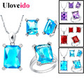 Uloveido Big African Party Multicolored Cubic Zirconia Jewelry Sets Silver Earrings Blue Ring Cube Necklaces and Pendants T473