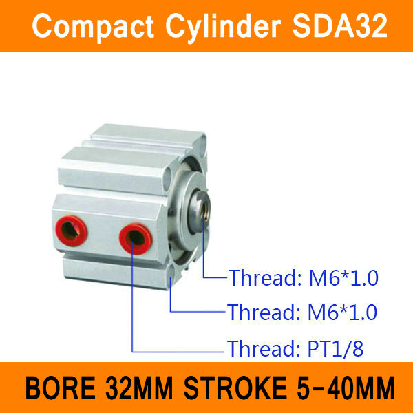 SDA32 Cylinder SDA Series Bore 32mm Stroke 5-40mm Compact Air Cylinders Dual Action Air Pneumatic Cylinder ISO Certificate pneumatic 32mm bore 40mm stroke air cylinder sda 32x40