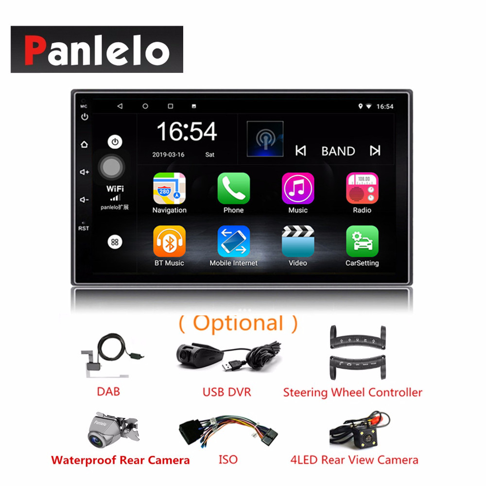 2 DIN android 8.1 Quad Core HD écran tactile intégré Bluetooth Wifi AM/FM Radio 1 GB RAM 16 GB ROM voiture GPS Autoradio de Navigation