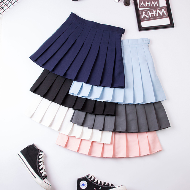 Zes Kleuren XS-XXL Hoge Taille Effen Kleur Vrouwen Rok Harajuku Mode Zoete Student Geplooide Rok Veiligheid Broek A-lijn Meisjes Rok