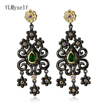 Beautiful Dangle Earrings Green Cubic Zirconia Stones Flower Vintage Jewellery Black color Jewelry Drop earring for women extremely attractive dangling earring blue green and clear oval cut stones of cubic zirconia big round dangle pendant earrings