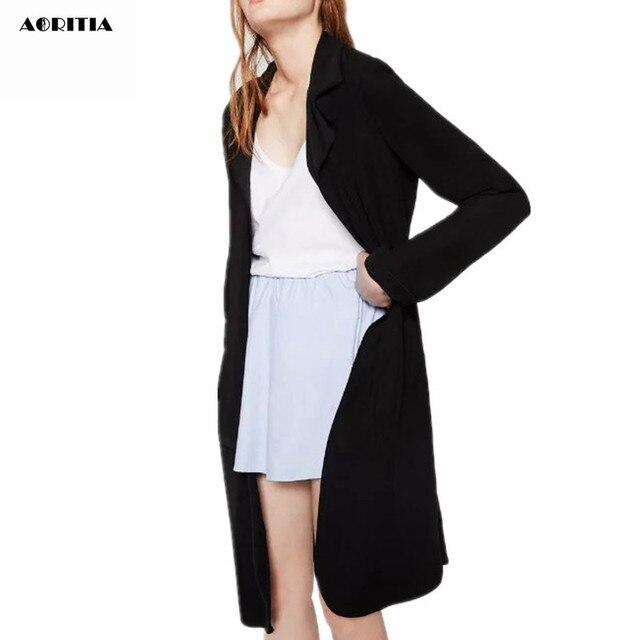 2016 Mujeres de La Moda De Tela Vertical de la mujer Rompevientos Abrigo Largo Cuello turn-dowm mujeres Trench Coats