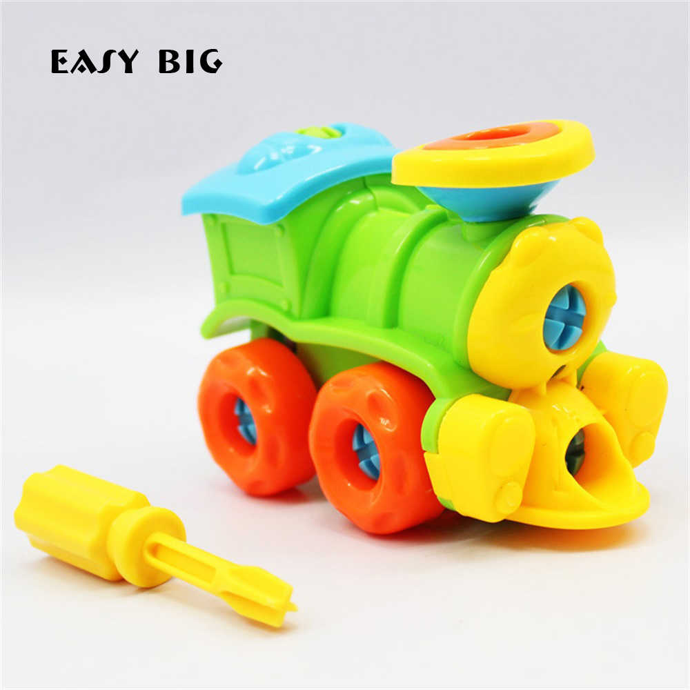 EASY BIG Educational Children Model Building Kits Basic Simple Trains Model Toys For Boys With Screw-Driver Tools  TH0021