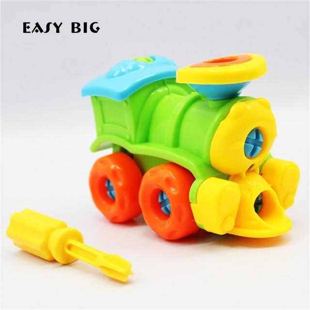 FÁCIL GRANDE Educacional para Crianças Modelo de Construção Kits Básicos Simples Trens Modelo Brinquedos Para Meninos Com Parafuso-Ferramentas Motorista TH0021