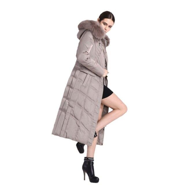 Chaqueta de invierno Mujeres de la Alta Calidad Abajo de la Capa 2017 de Las Nuevas Mujeres chaqueta de Invierno Winter x-long Abrigos Grande Cuello de Piel Con Capucha Parka M366