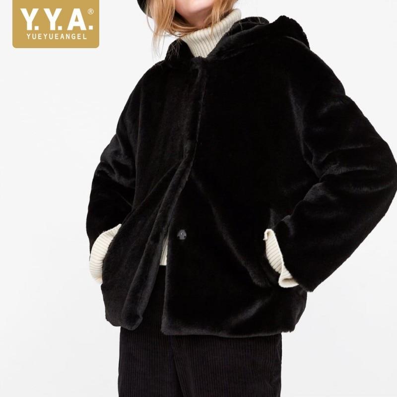 De Supérieure Court Marque Décontracté Manteau Faux D'extérieur Hiver Femme Chaud Vêtements Mode Épais Fourrure 2 Nouveaux 1 À Dames 2019 Qualité Capuche Solide RXqSwdq