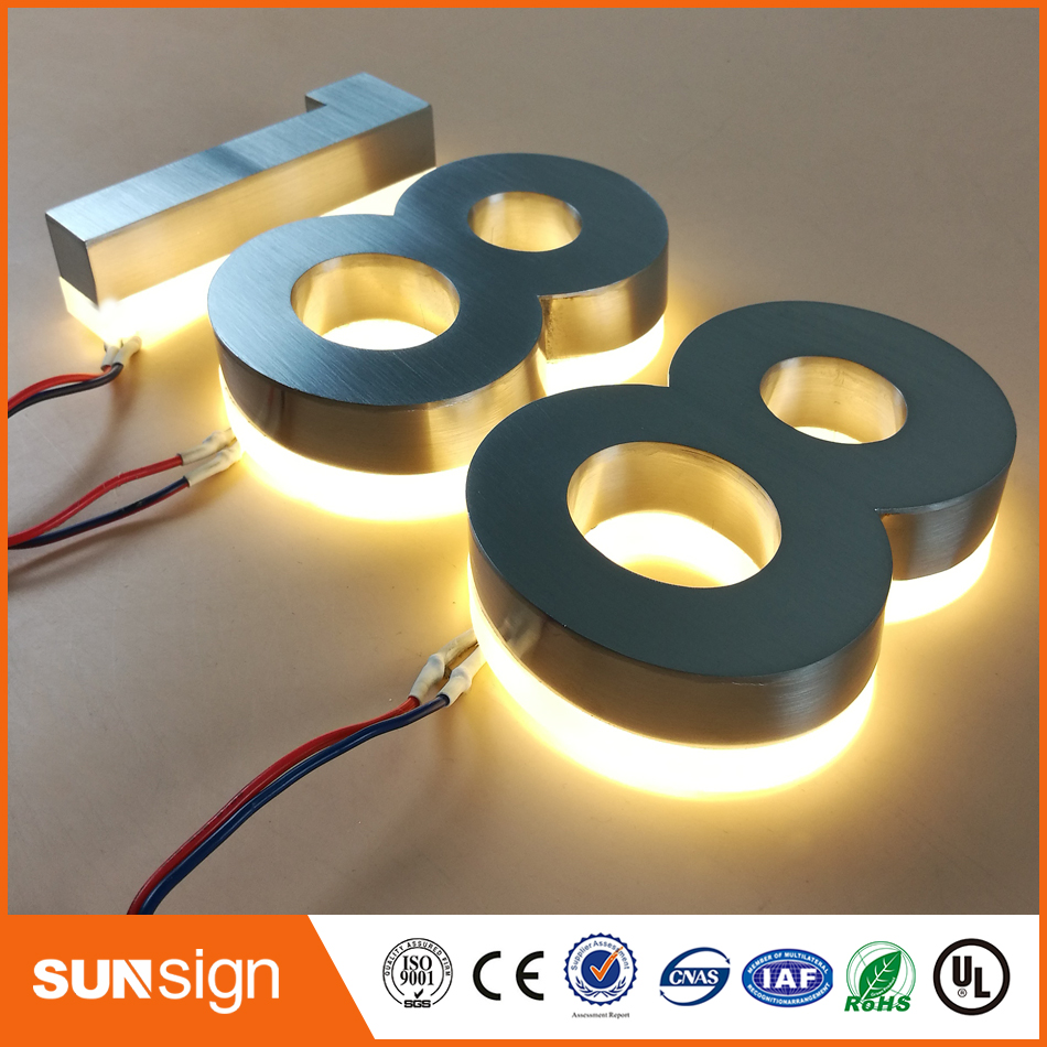 Indoor Stainless Steel LED 3d Letter Sign Logo Halolit Lighting Up 3d Led House Number