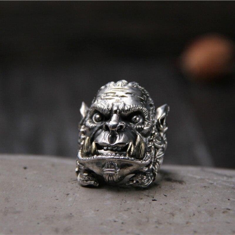 S925 bague en argent Sterling World Of Warcraft, bague rétro pour hommes en argent thaïlandais, taille de bague ouverte réglable