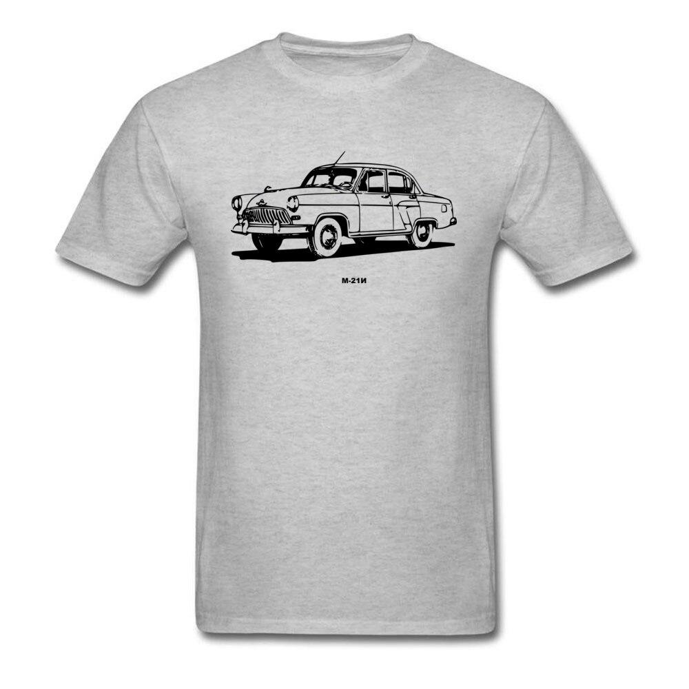 Classic font b Volga b font M 21N Grey T shirt Men Car Print Short Sleeve