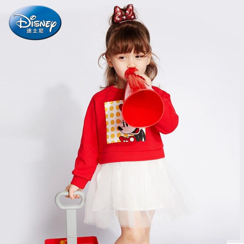 Disney authentique 2019 bébé fille robe Minnie princesse à manches longues rouge marine robes enfants printemps automne mignon vêtements pour enfants
