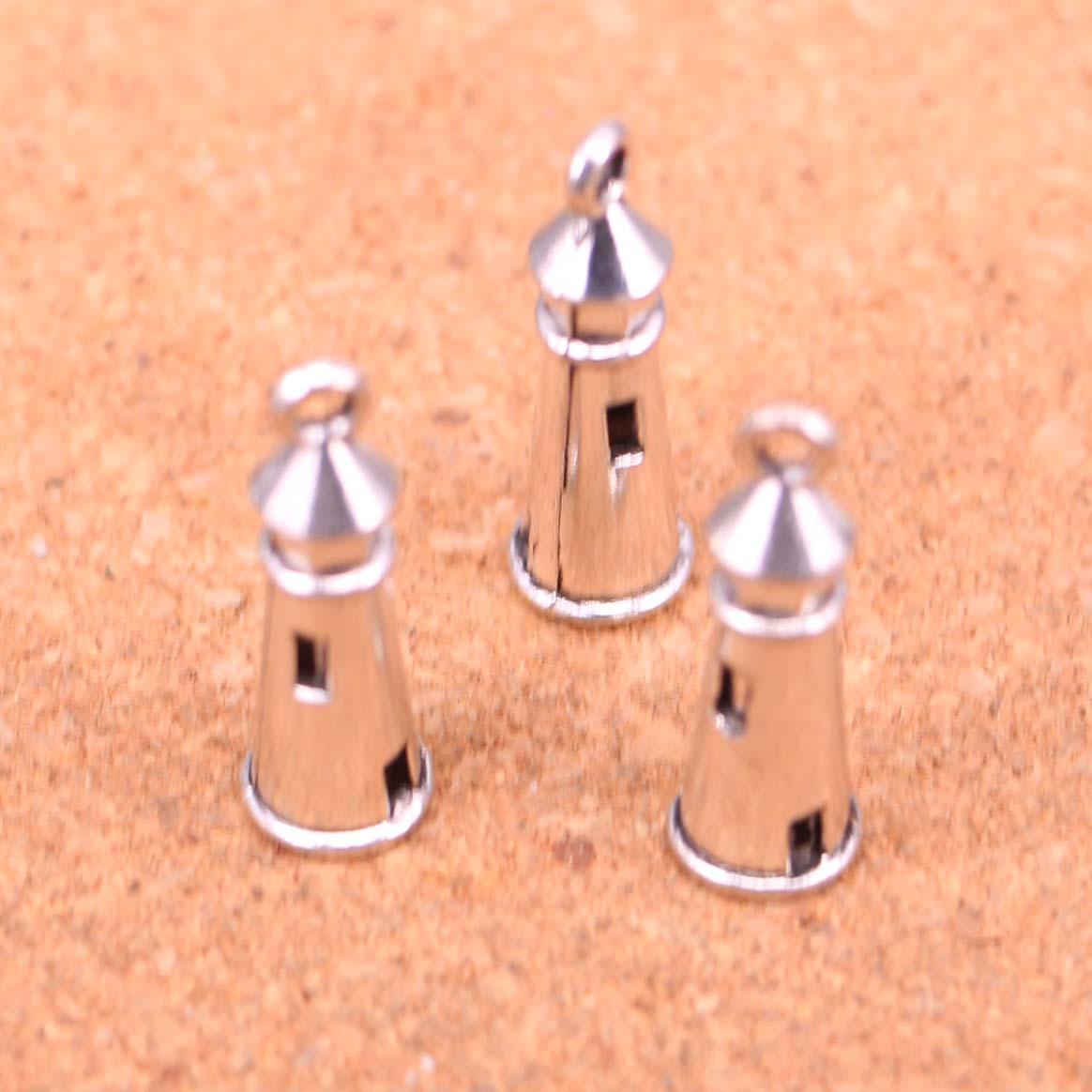 10x Lighthouse Shaped Pendant Charms 10Pcs Tibetan Silver Beads 27*11mm