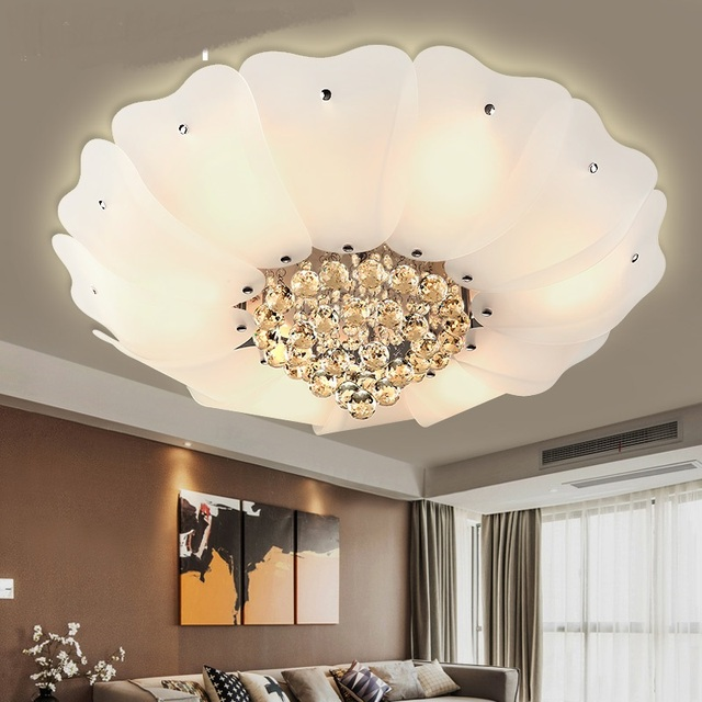 Lotus Crystal Ceiling Lights Elegant Living Room Bedroom Superior Hotel  Lobby Home Lighting White Ceiling Lamps