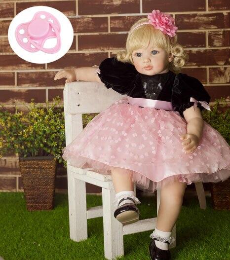 60 cm di Alta-end di silicone vinile reborn baby doll giocattolo neonato ragazza bambini della principessa bambola di compleanno regalo di festa di andare a dormire casa del gioco del giocattolo