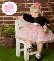 60cm High end vinyl silicone reborn baby doll toy newborn girl babies princess doll birthday holiday gift bedtime play house toy