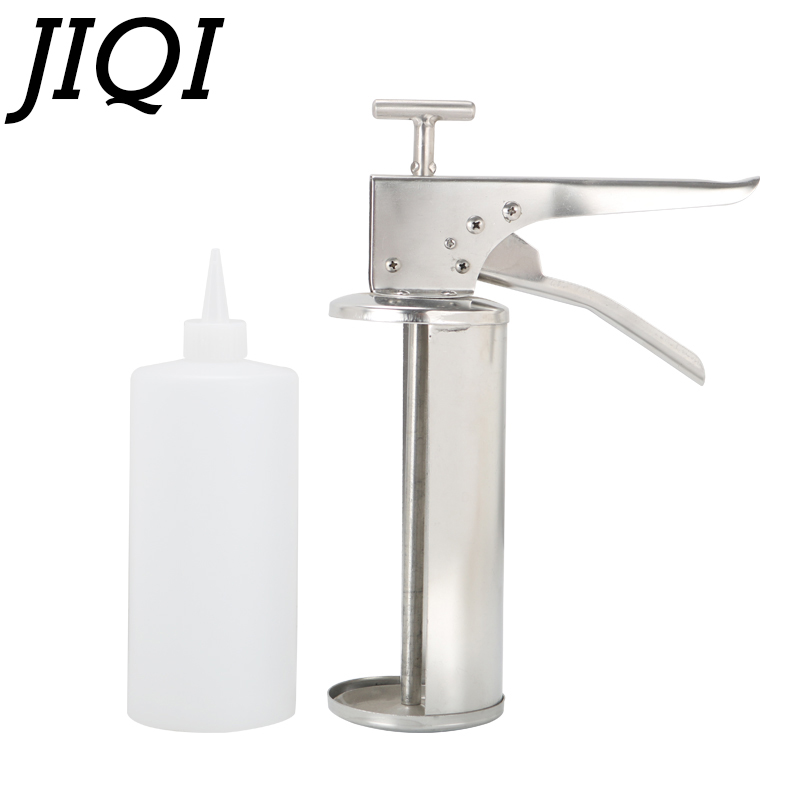 Stainless Steel Burger Sauce Gun Salad Dressing Gun Dispenser 10g 20g Hamburger Jam Filler With Bottle Burgers Shop Equipment