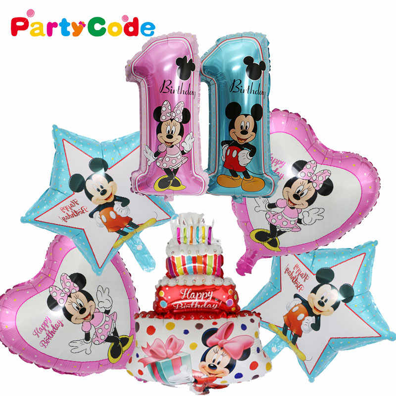 1 Set Mickey Mouse Minnie Foil Balloons Baby Shower Boy Girl Party Birthday Decor Number