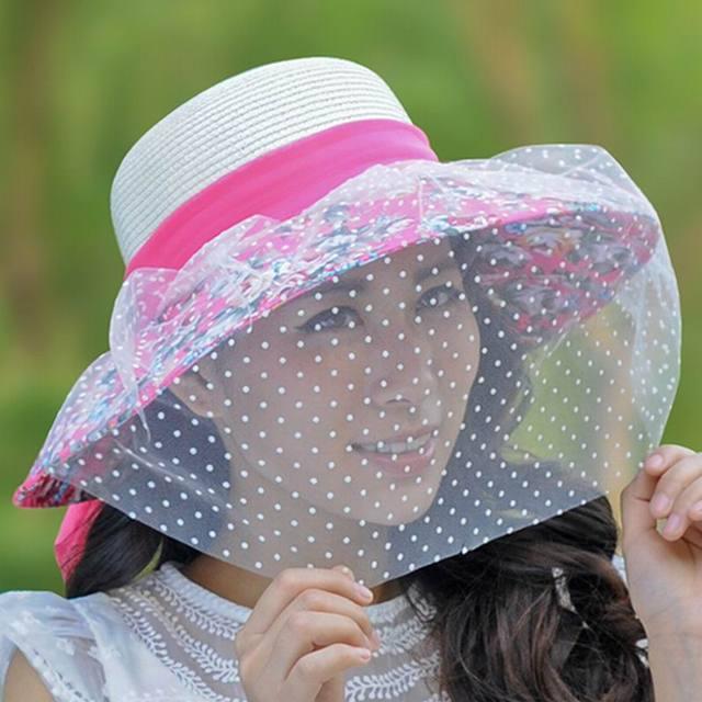 Velo del sombrero femenino del verano sunbonnet grande ala anti-ultravioleta protector solar plegable del sombrero del sol casquillo de la playa del sombrero trenza de la paja