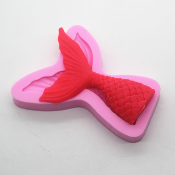 Wholesale Crystal drop glue mould fish tail sugar cake candle wax mold