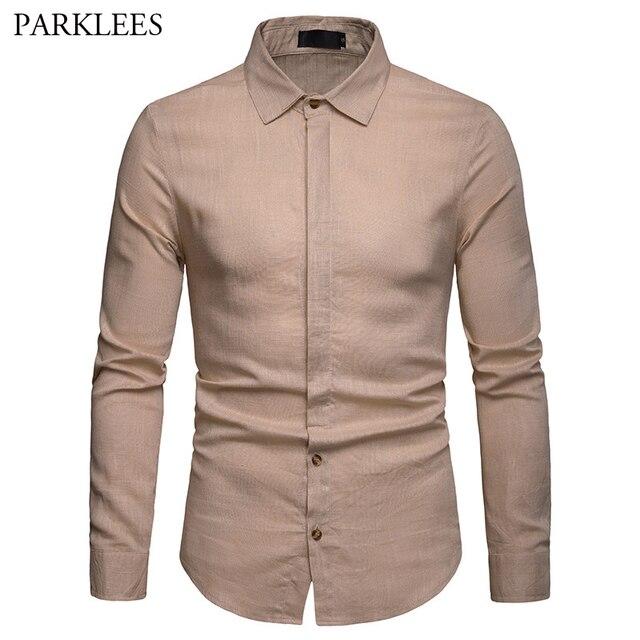 8403539856af Mens Linen Dress Shirt Solid Khaki Long Sleeve Male Lapel Business Casual  Shirts Comfort Color Work Camisas Social Masculina XXL