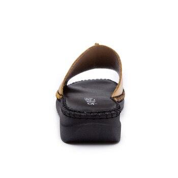 DRKANOL Handmade Sewing Genuine Leather Summer Women Slippers Open Toe Sandals Woman Shoes Flat Slippers Beach Flip Flops 5