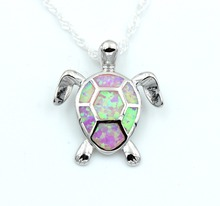 White Fire Opal Turtle Shaped Pendant Necklace
