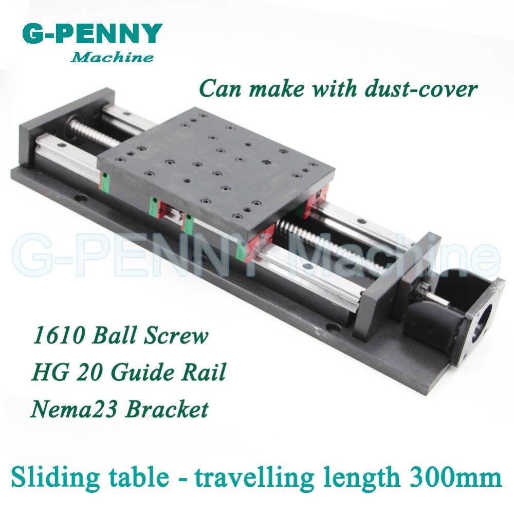 Haute Précision table coulissante voyager longueur 300mm Chinois HG 20 linéaire Rail de Guidage de mouvement linéaire Vis À Billes 1610 pour Z axe
