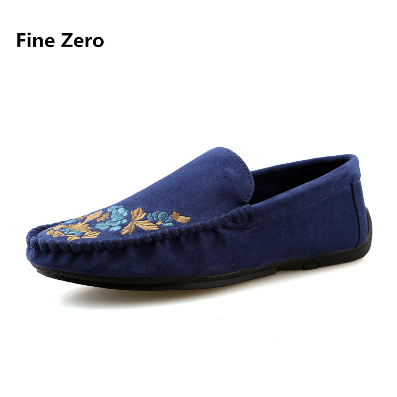 Fine Zero 2018 Men spring summer suede embroidery Slip on Dress Business Shoe Male Soft Moccasins Loafers jean Driving Flats