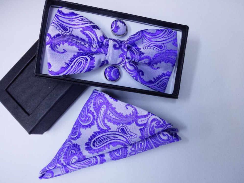Gravata borboleta seda presentes para homem bowtie bolso quadrado flores de caju laço e lenço hanky com botão de punho conjunto caixa