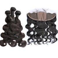 Тела волна бразильские человека пучки волос с 13x4 шелк база кружева Фронтальная застежка 3 шт. волос Девы CARA волос код