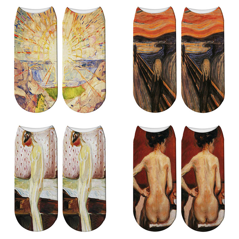 New 3D Print Art Oil Painting Edvard Munch Socks Sun The Scream Women Ankle Socks Famous Painting Meias Calcetines Mujer