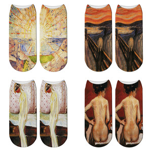 New 3D Print Art Oil Painting Edvard Munch Socks Sun The Scream Women Ankle Socks Famous Painting Meias Calcetines Mujer(China)