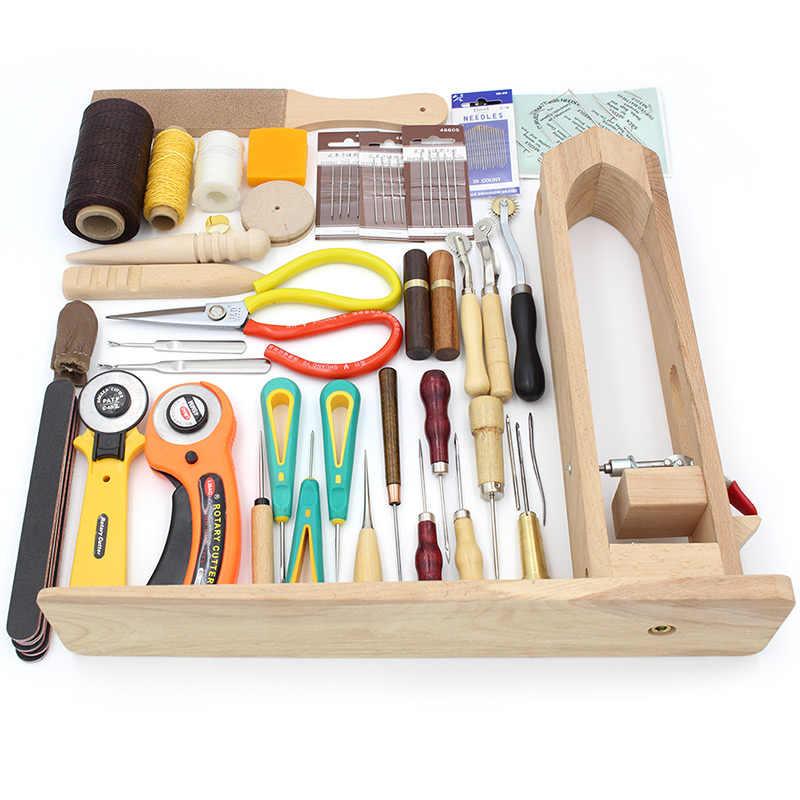 Puede elegir, juego de herramientas de artesanía de cuero, aguja para cuero hilo hecho a mano costura para coser tijeras de madera Clip herramientas de manualidades diy