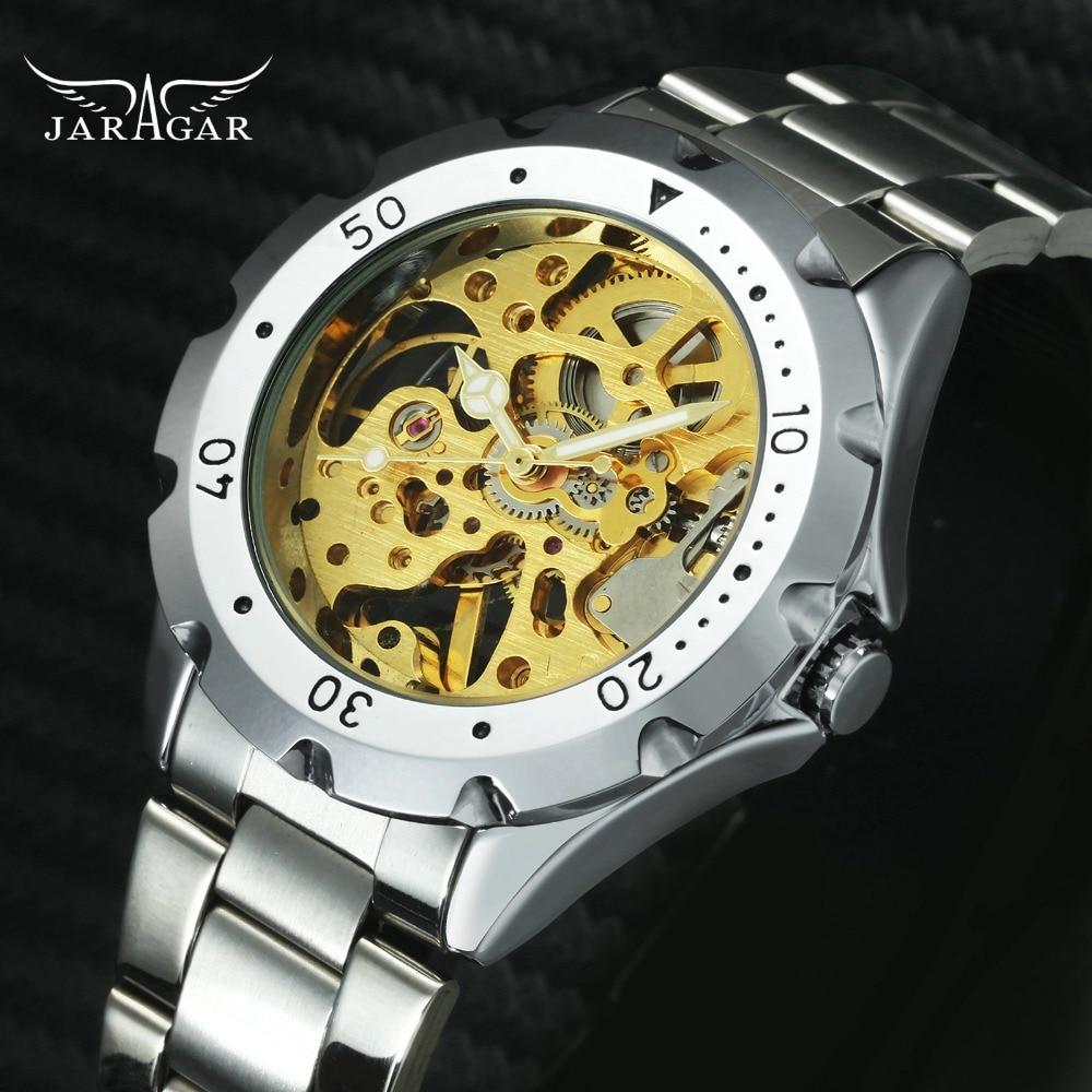 JARAGAR Unisex Mechanical Watches Men Skeleton Dial Vintage Military Stainless Steel Strap Top Brand Luxury Golden Wristwatch