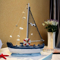 Wooden Mediterranean Sea Style Sailing Boat Net Hand Painted Fish Boat M Size Boat Wooden Craft