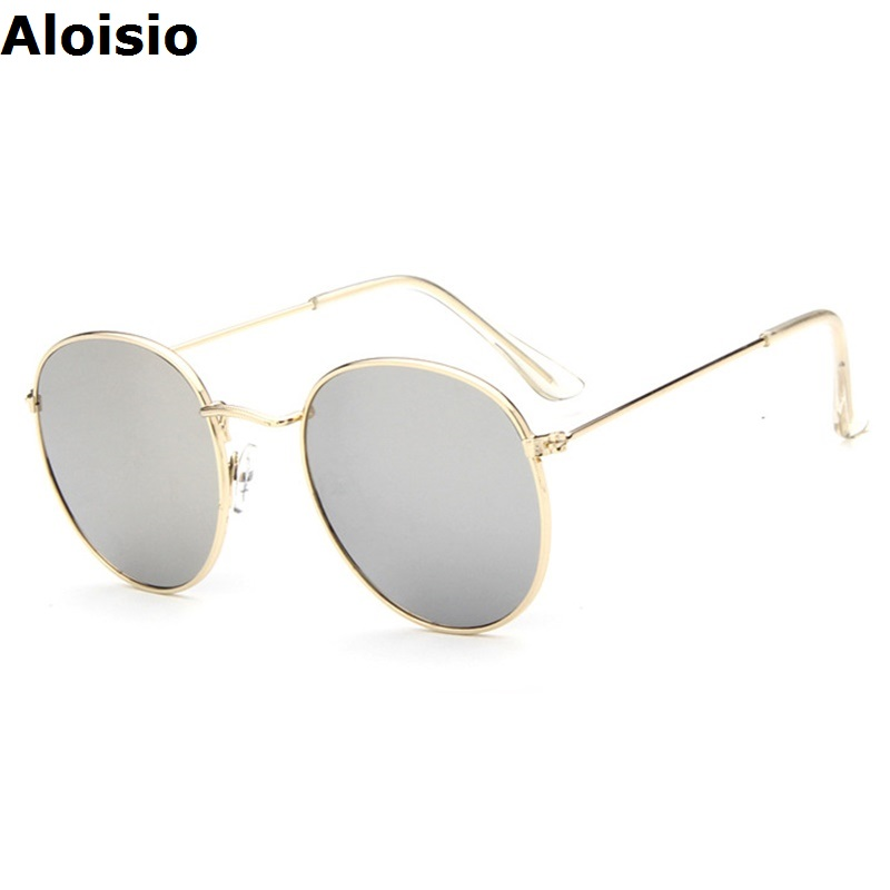 aloisio cheap women sun glasses alloy round frame brand designer uv400 simple metal legs lady sunglasses