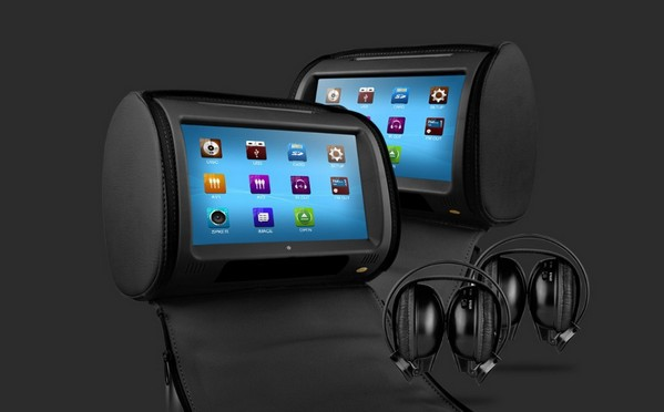 Dvd-Player Car-Headrest Touch-Screen with 8-Bits Games Black-Color Black-Color