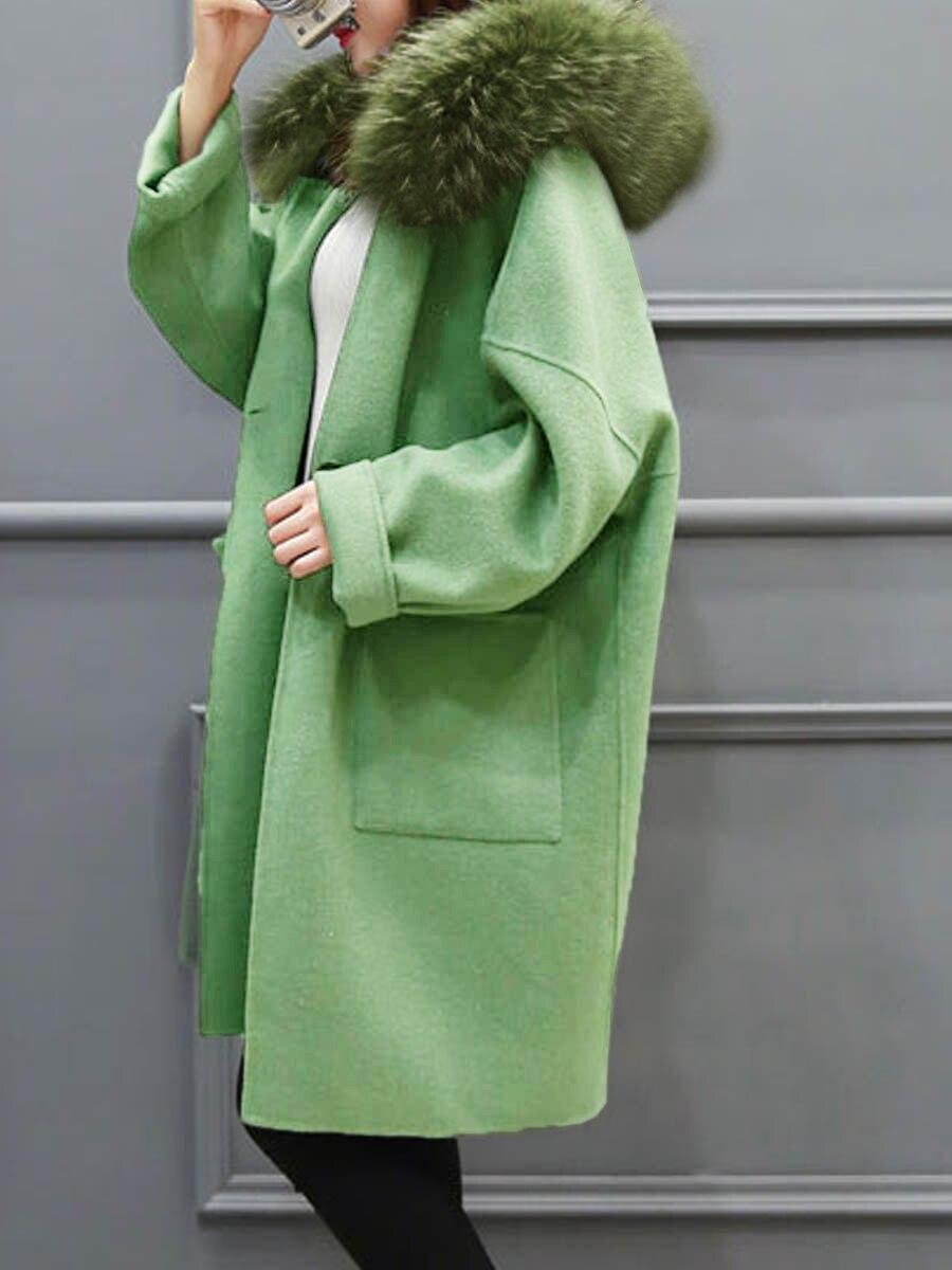 Длинное шерстяное пальто женское клетчатое пальто зима искусственный мех теплая верхняя одежда повседневная средней длины пальто Зеленый ...