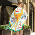 Envío Gratis 2017 Nuevas Mujeres Otoño Invierno bufanda de marca de lujo Clásico Caballo cadena de la Tela Escocesa de la Bufanda de Seda pashmina Mantón de Seda de la Tela Cruzada
