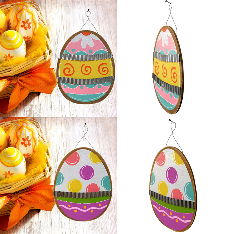 Wooden Easter Eggs Corrugated Iron Hanging Board Garden Plate Easter Decoration Wholesale Free Shipping 3RB24