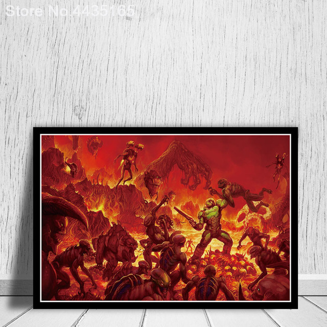 The Ultimate Doom Game Poster Halo Video Games Wall Art Picture Canvas Painting for Living Room Home Decor Posters and Prints 4