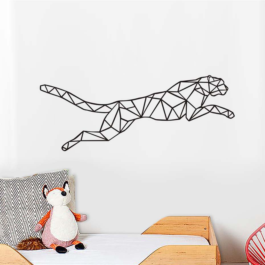 Geometric Saltatory Cheetah Wall Stickers For Living Room Viny Animall Art DIY Wall Decals Nursery Decoration Home Decor