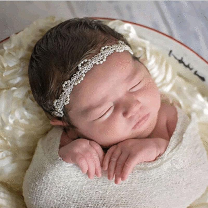 Newborn Baby Girl Pearl Flower Headband Hair Photography Props Accessories